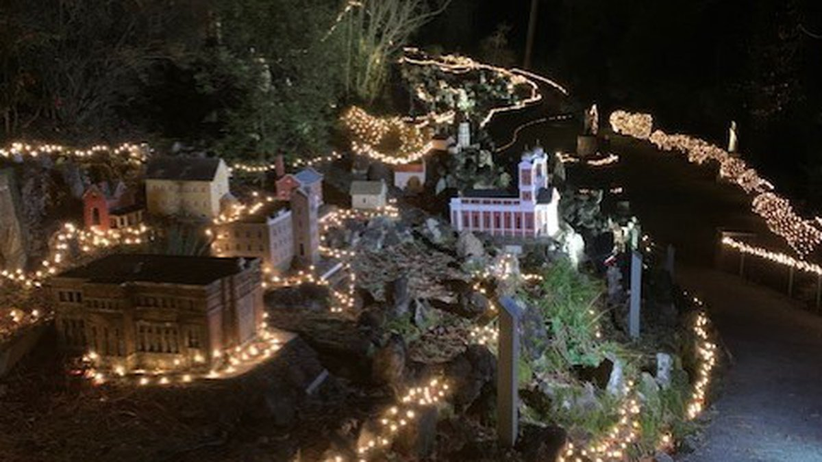 Ave Maria Grotto alive with the lights of Christmas