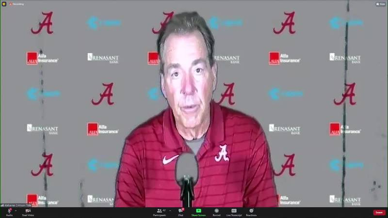 Alabama Head Football Coach Nick Saban - Florida post-game