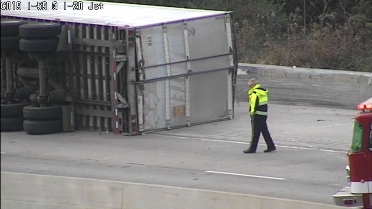 Overturned truck on I-20