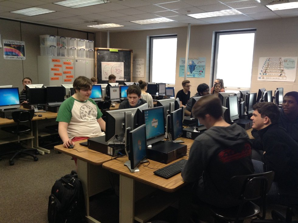 students learn programming in Jill Westerlund's class at Hoover High