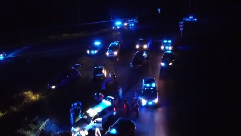 Drone shot of Cullman County, Morgan County and ALEA vehicles after a high speed chase ends on...