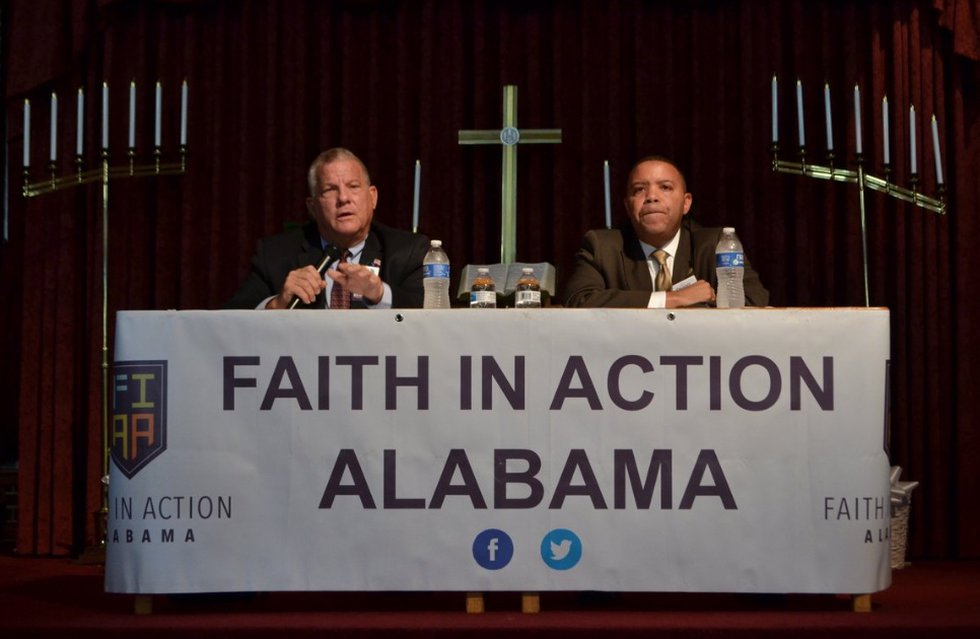 Mike Anderton and Danny Carr at the Faith in Action forum in October.
