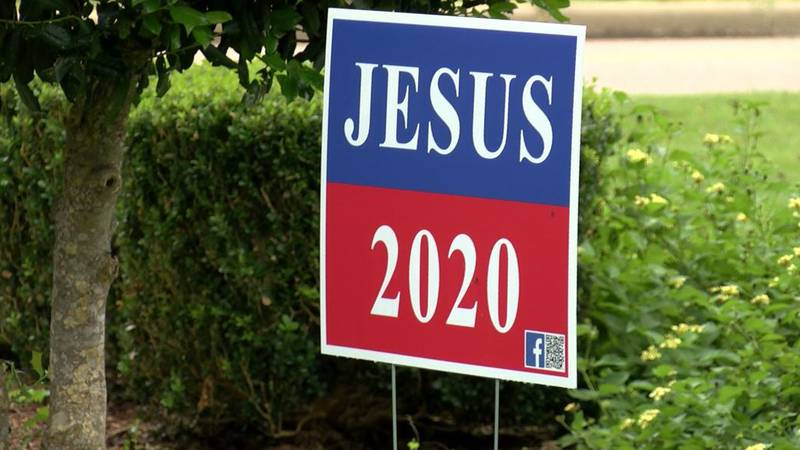 A church in Ramer has been putting up signs saying Jesus 2020.