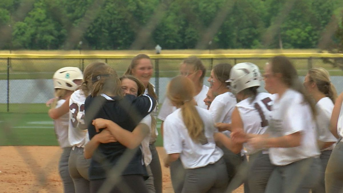 Sumiton Christian softball celebrates after a 9-8 win over Pisgah at the AHSAA State Softball...