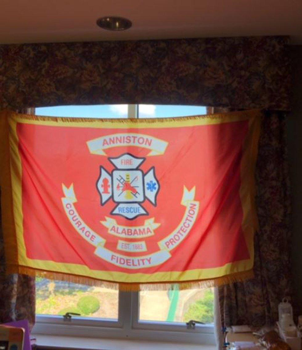 Flag hangs in Justin Roberts' room