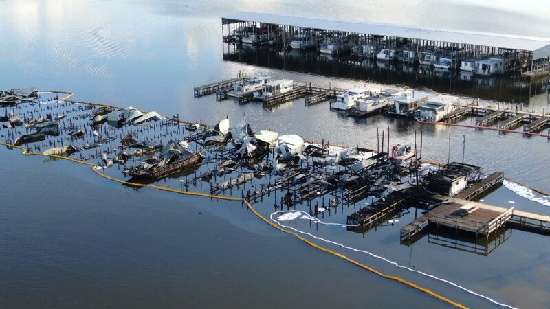 An aerial view of the Jackson County Park marina
