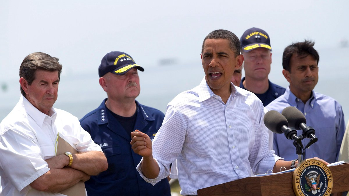 President Barack Obama gestures during a statement on the Gulf Coast oil spill with federal and...