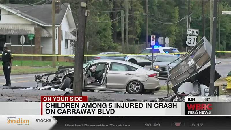 Children among five injured in crash on Carraway Boulevard