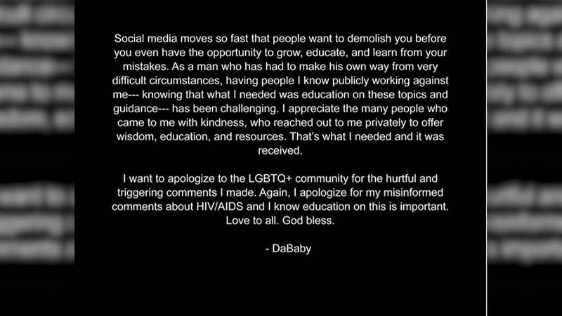 DaBaby apologizes for inflammatory comments he made.