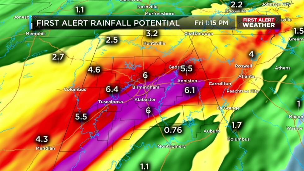 We could easily see rainfall totals around 2-4 inches with isolated spots seeing 5-6 inches...