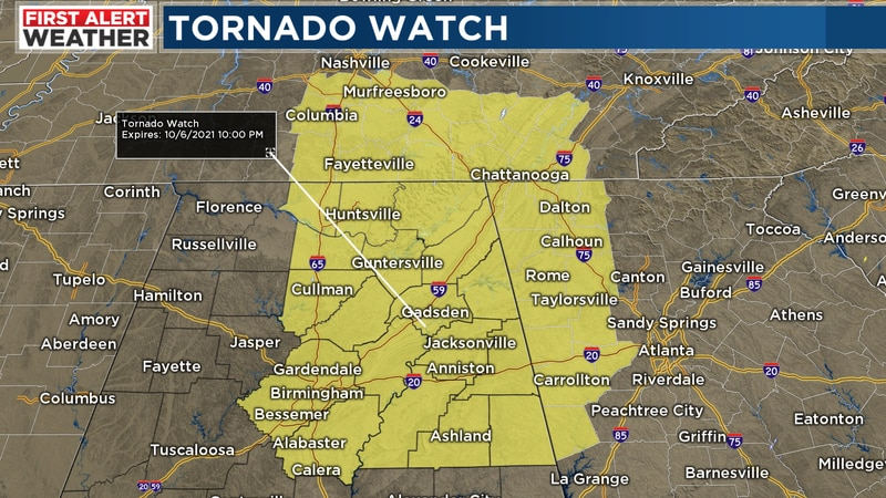 Tornado watch issued for several counties through 10PM