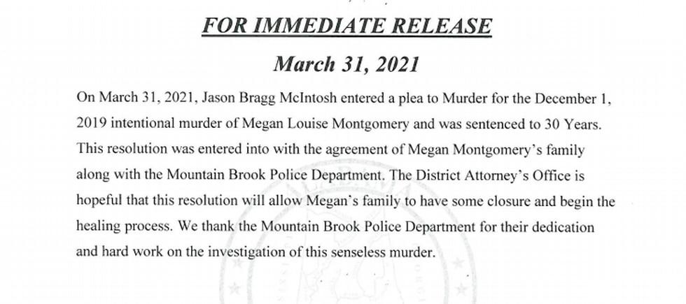 Jason McIntosh, who is accused of killing his estranged wife Megan Louise Montgomery, pleaded...