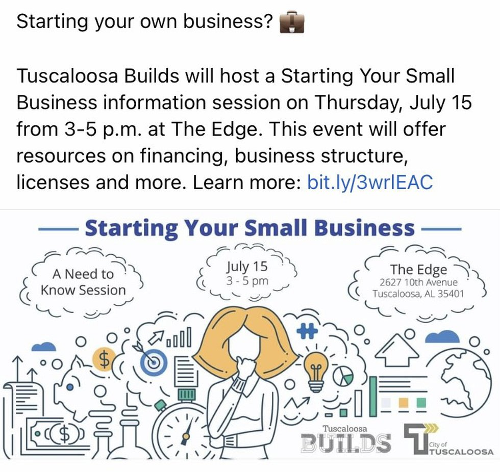 The City of Tuscaloosa's Tuscaloosa Builds program is hosting the starting Your Small Business...