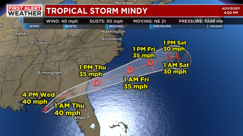 Tropical Storm Mindy rapidly forms near the Gulf Coast