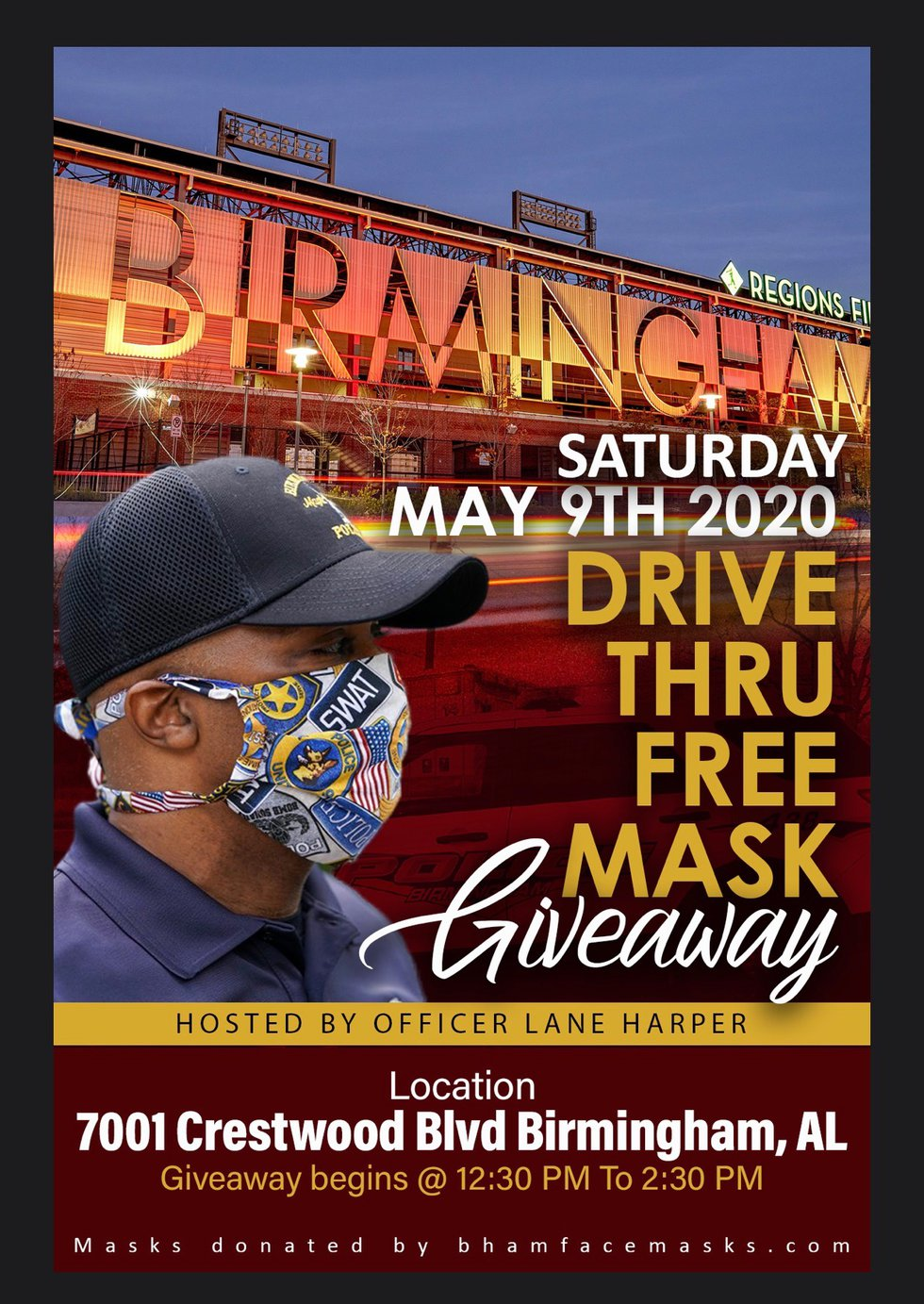 BPD Officer to host drive-thru mask giveaway in East Birmingham