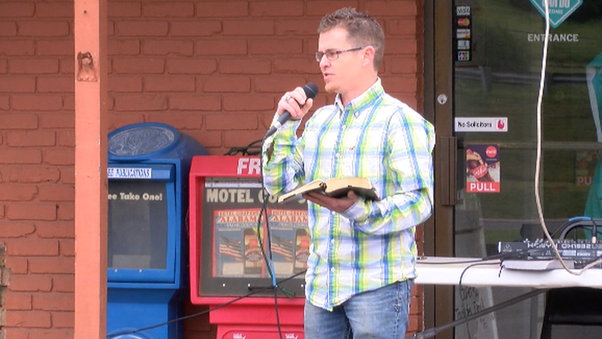Church service held in parking lot