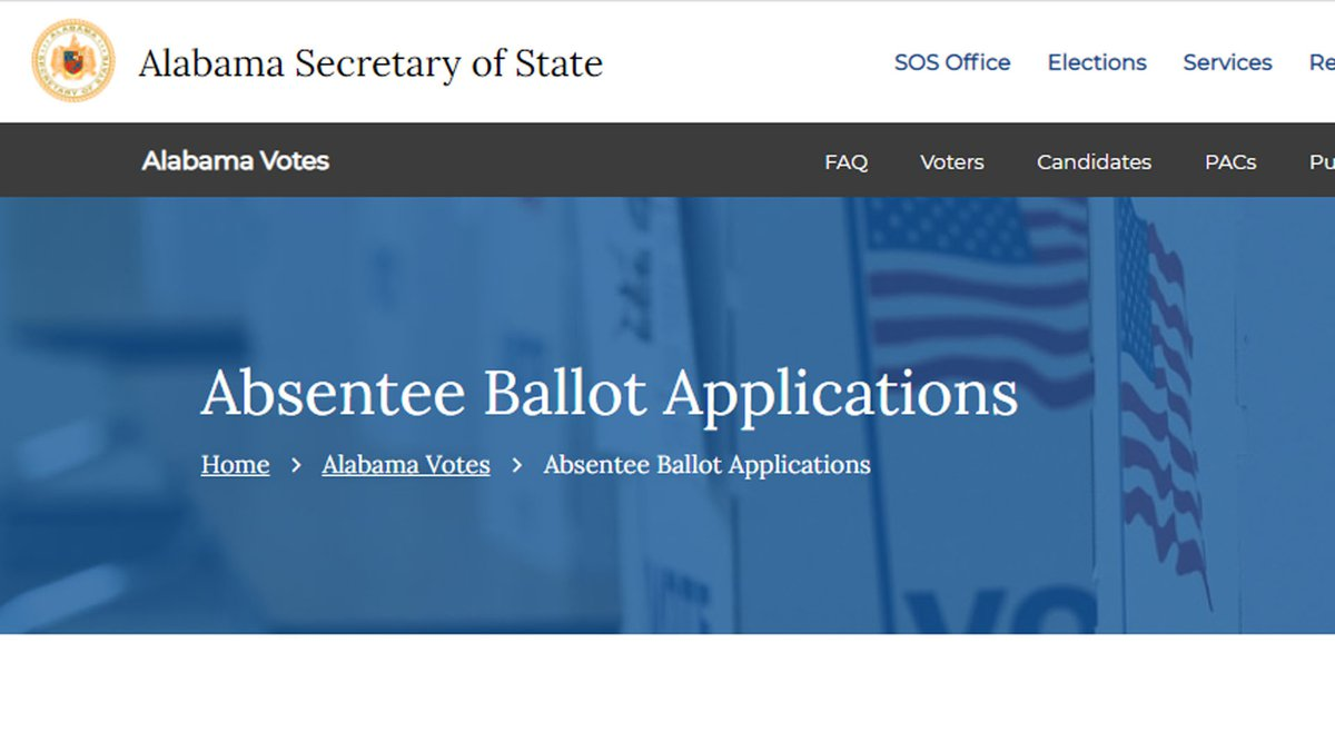 Alabama voters can apply for absentee on the Alabama.gov website.
