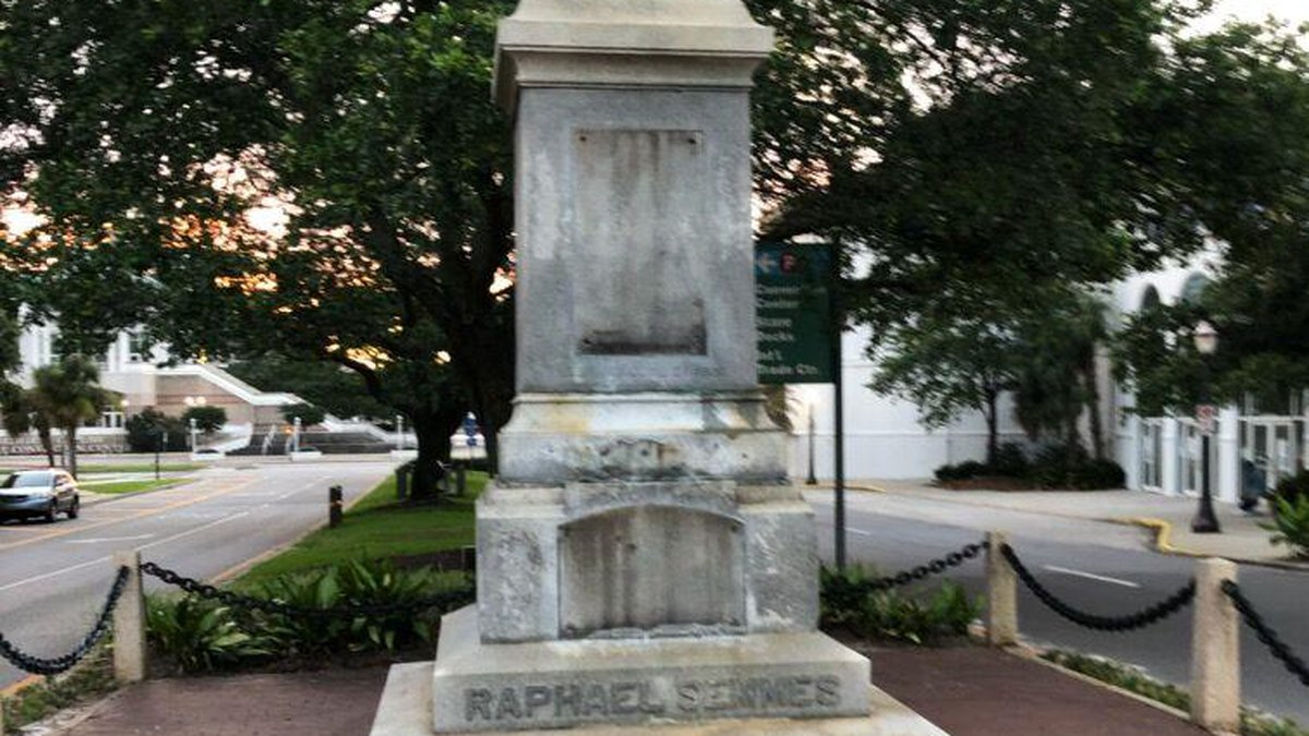 The statue of Confederate Admiral Raphael Semmes was removed overnight.