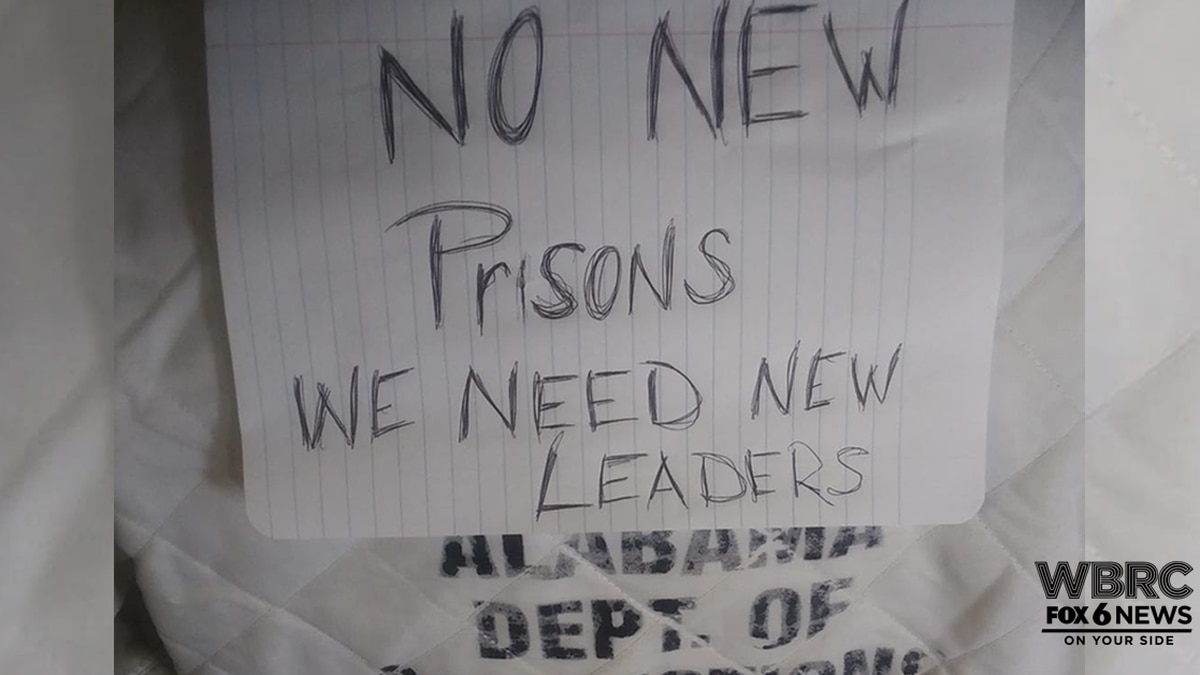 An Alabama prisoner protests the plan to build new prisons.