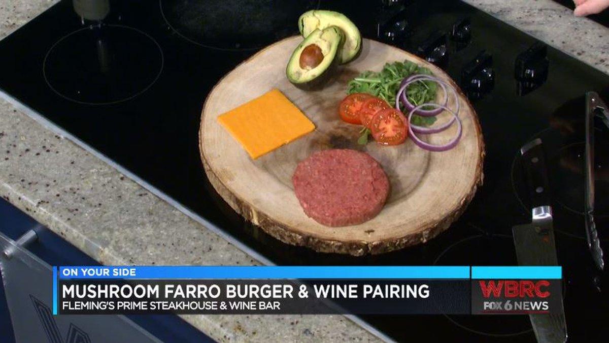 Fleming's Mushroom Farro Burger & wine pairing