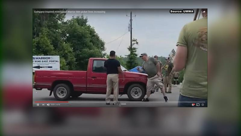 In video, you can see a red truck bumping someone picketing outside Warrior Met Coal.   The...