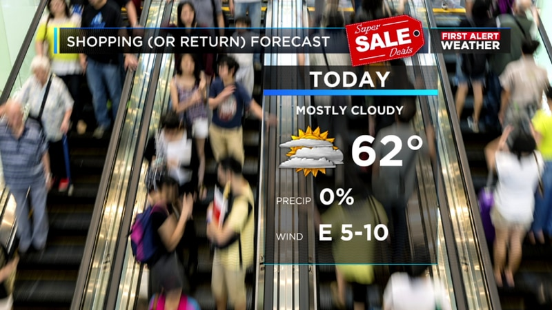Staying dry and mostly cloudy with highs in the lower 60s