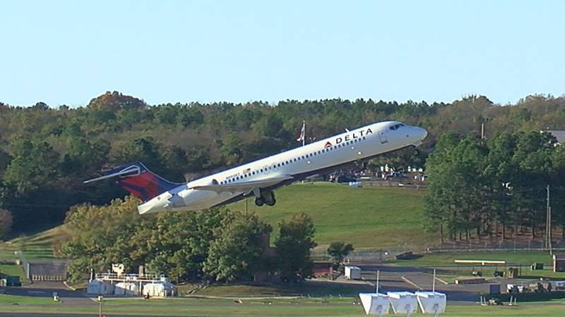 A plane takes off at Birmingham-Shuttlesworth International Airport.
