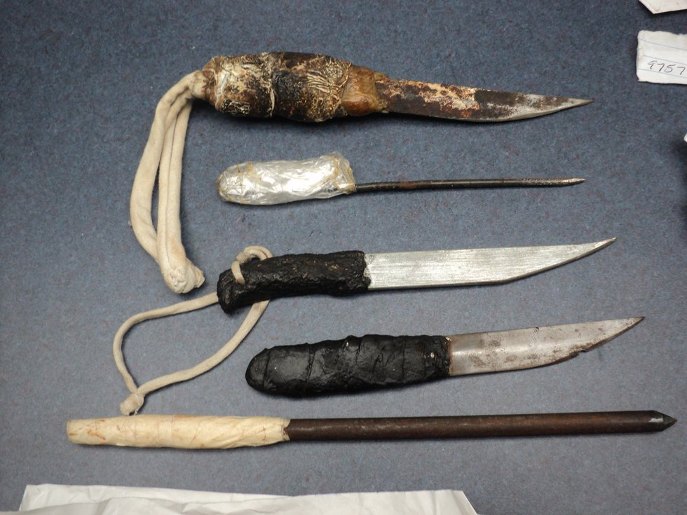 Confiscated weapons inside St. Clair Correctional Facility. (Photo sent to WBRC)