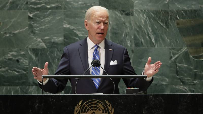 President Joe Biden speaks during the 76th Session of the United Nations General Assembly at...