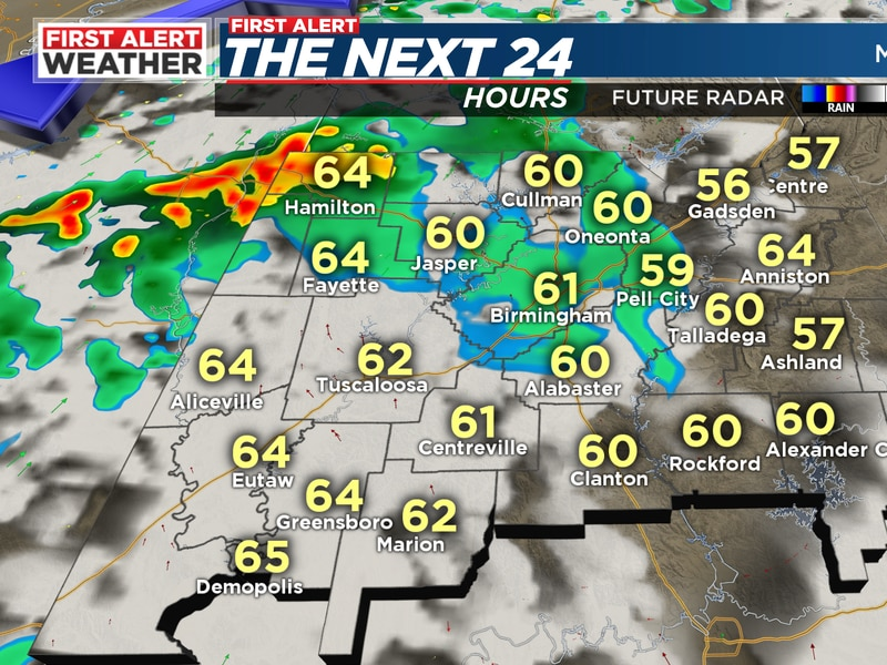 FIRST ALERT for a cold front to bring a few showers and weakening storms with it by morning