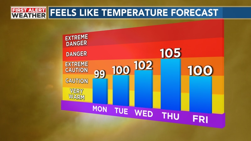 Expect hot, humid conditions to persist with temperatures near average for the month.