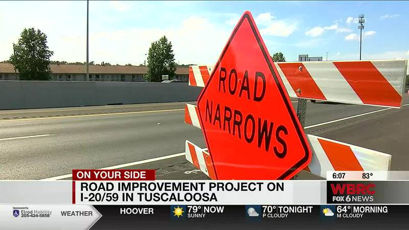 Road improvement project on I-20/59 in Tuscaloosa