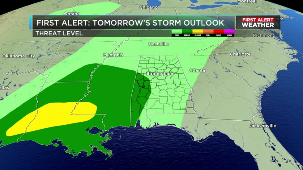 Small risk for severe storms in Alabama Thursday.