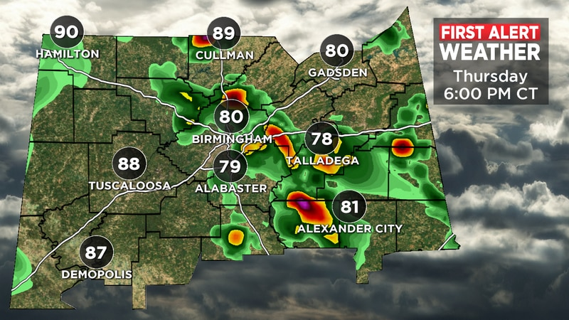 Scattered showers are expected Thursday afternoon.