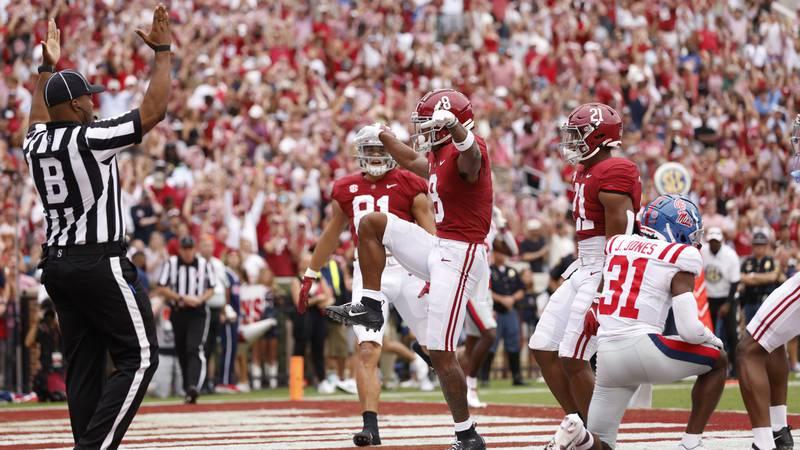 10/2/21 MFB Alabama va OleMissAlabama wide receiver John Metchie III (8)Photo by...