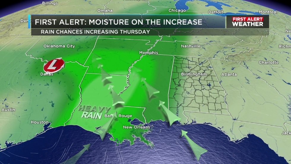 Rain will increase to our west today thanks to an area of low pressure developing in Texas