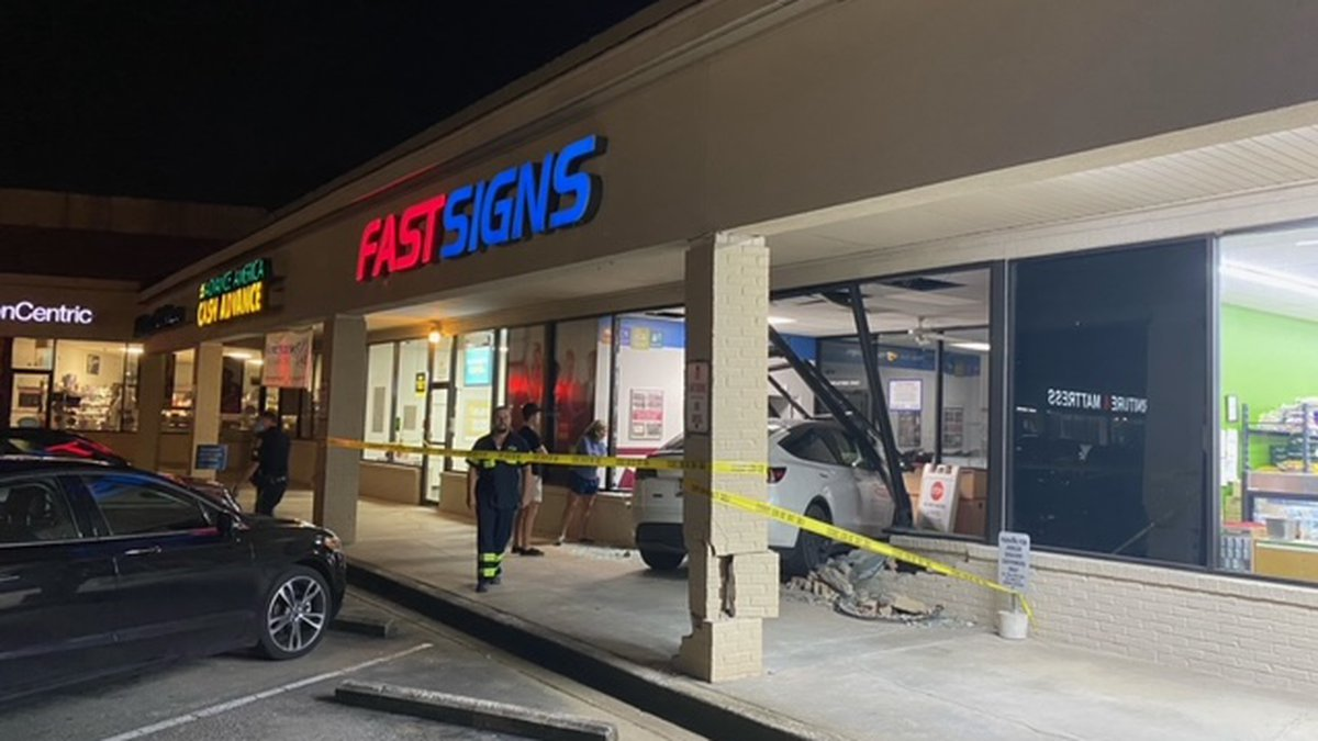 Crews are investigating after a car crashed into a building in Hoover.
