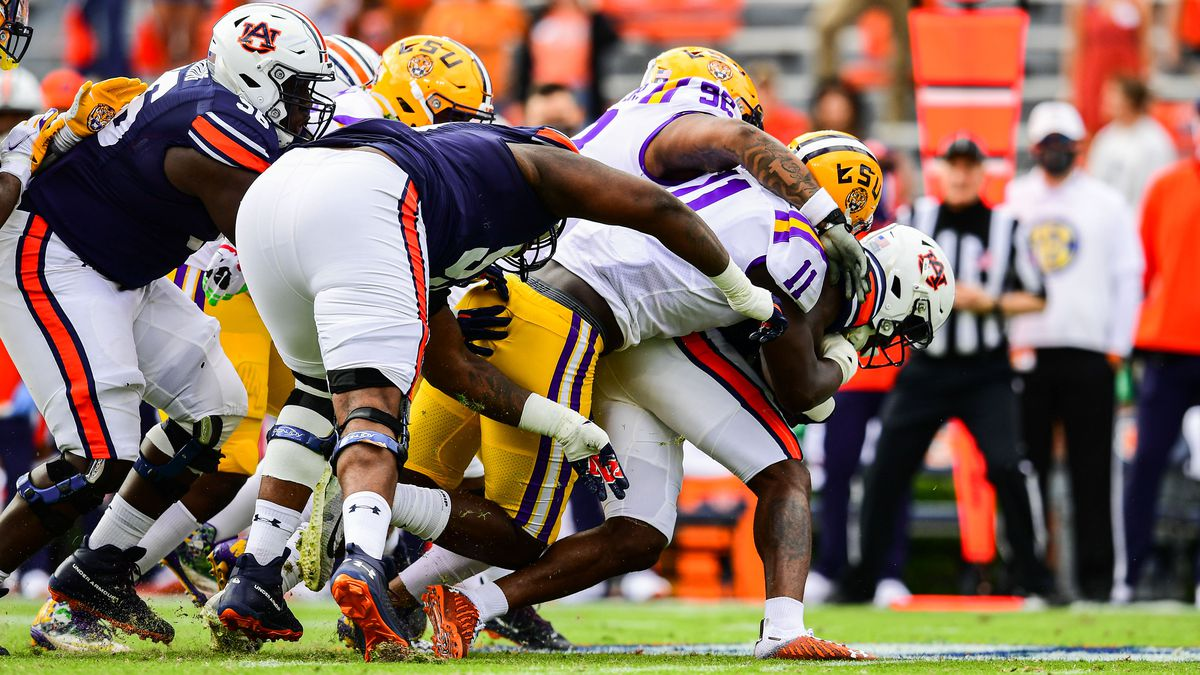 Ali Gaye of the LSU Tigers makes a tackle during the first half of a game against the Auburn...