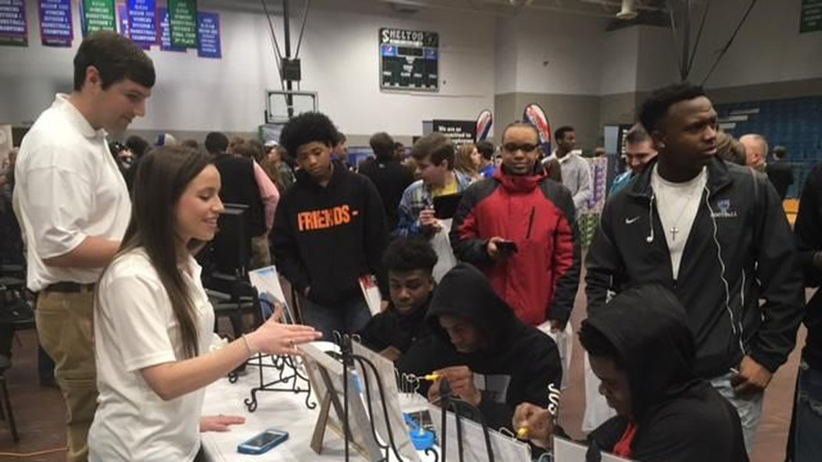 Students meet with officials from Lavender, Inc. at WOW 2.0Thursday (Source: Terri Brewer/WBRC)