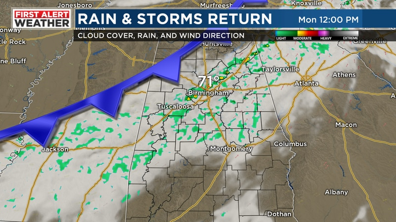 FIRST ALERT for a cold front to bring us some rain and storms Monday