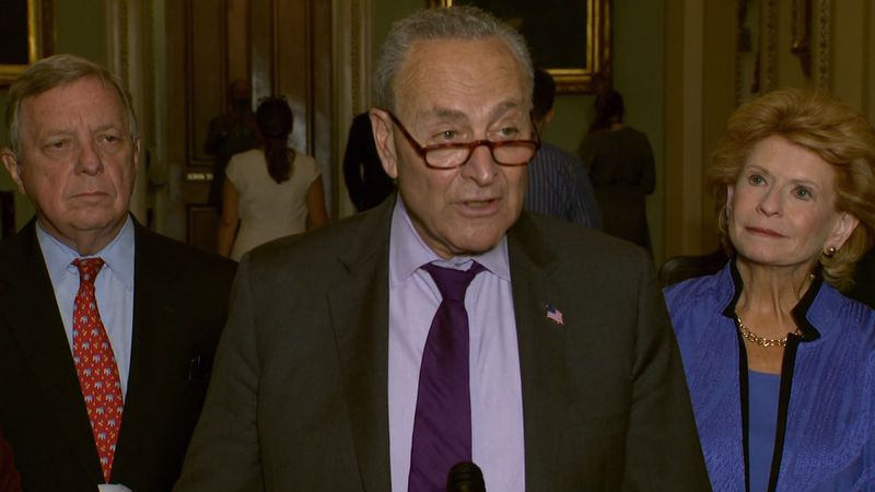 FILE – Sen. Chuck Schumer speaks to reporters on Tuesday, June 15, 2021.