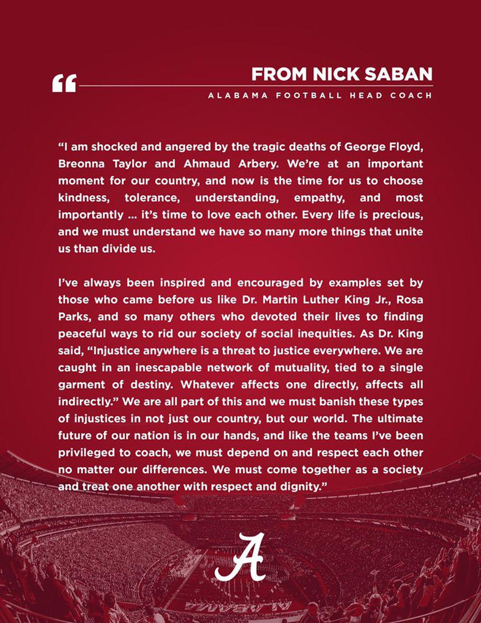 Message from Coach Nick Saban