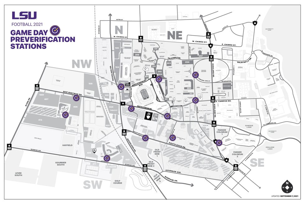 A map of LSU's 12 preverification sites for entry into Tiger Stadium.