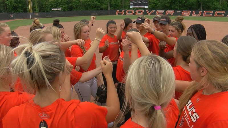 Hoover softball team practices before the AHSAA softball championship tournament in Oxford.