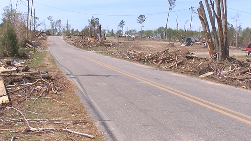 Work is being done to remove the debris one month after the storm in Lee County